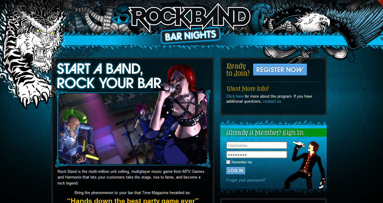 Rockband Bar Nights home page