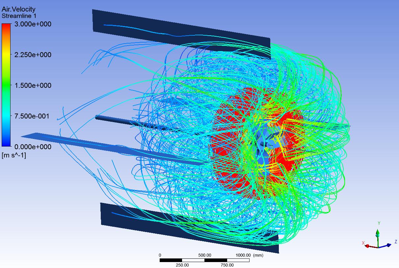 Impeller velocity streamlines
