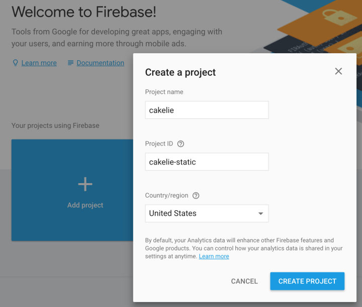 new firebase project