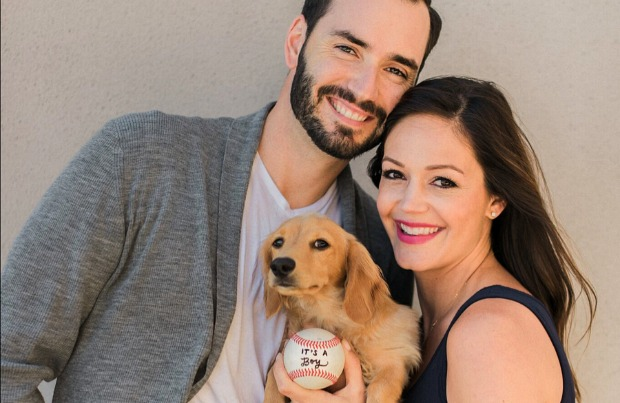 Bachelorette star Desiree Hartsock with her husband Chris Siegfried and her dog