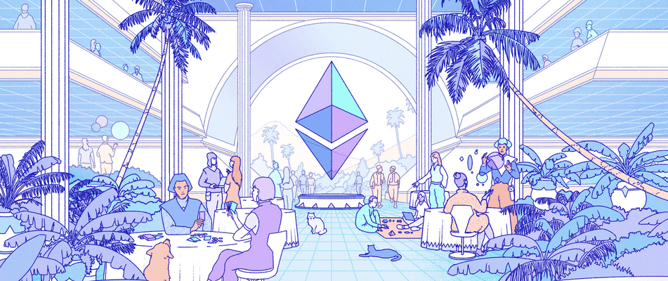 An illustration of characters in a social space dedicated to Ethereum with a large ETH logo