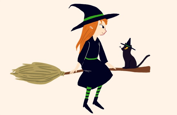 Illustration of witch and cat dressed like a witch