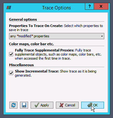 Select trace options