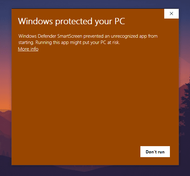 Windows procted your pc warning