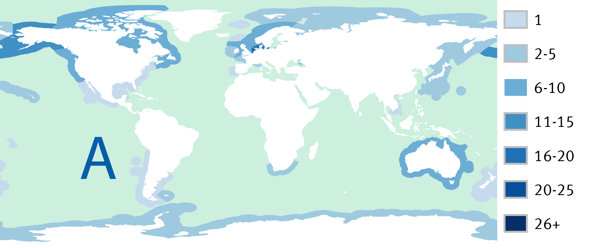 Map A: Number of certified fisheries in each country's Exclusive Economic Zone (EEZ) in 2010