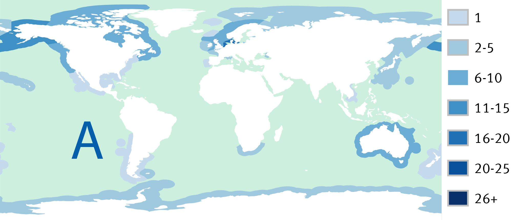 Kaart A: Aantal gecertificeerde visserijen in de exclusieve economische zone (EEZ) per land in 2010