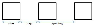 spaced boxes
