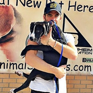Chris Pine and his newly adopted puppy.