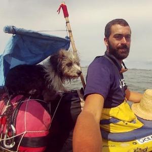 Sergio Basoli kayaking the Mediterranean with Nirvana