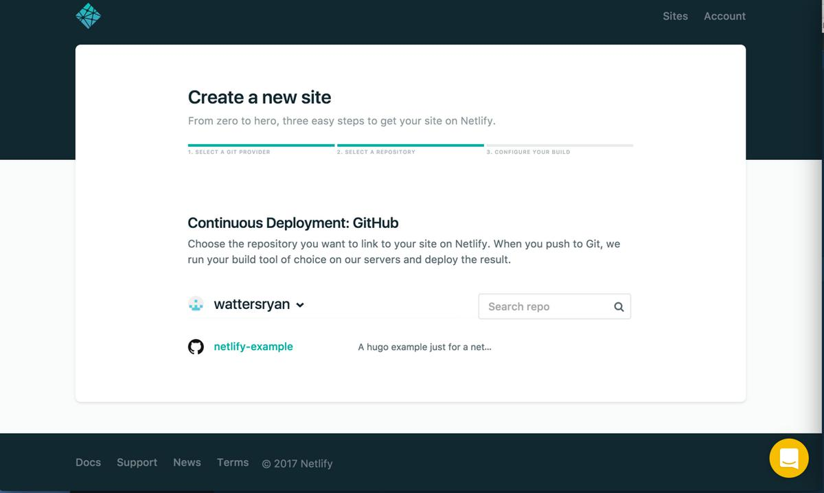 Screenshot of step 1 of create a new site for Netlify: selecting the git provider