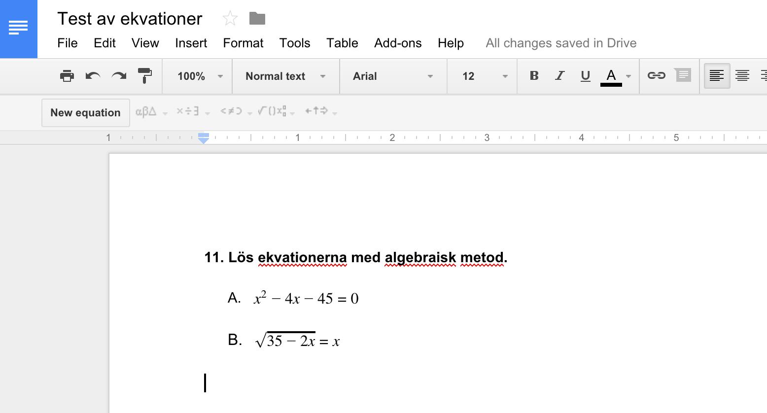 Ekvation i Google Docs
