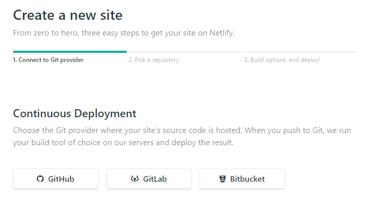 Continuous Deployment options when creating a new site on Netlify