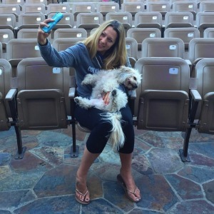 Colbie Caillat and her dog on tour