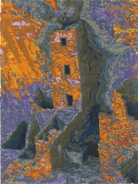 Square Tower woodblock print
