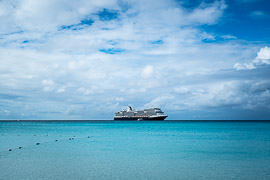 Looking back at our ship from shore. Half Moon Cay, Little San Salvador Island, Bahamas