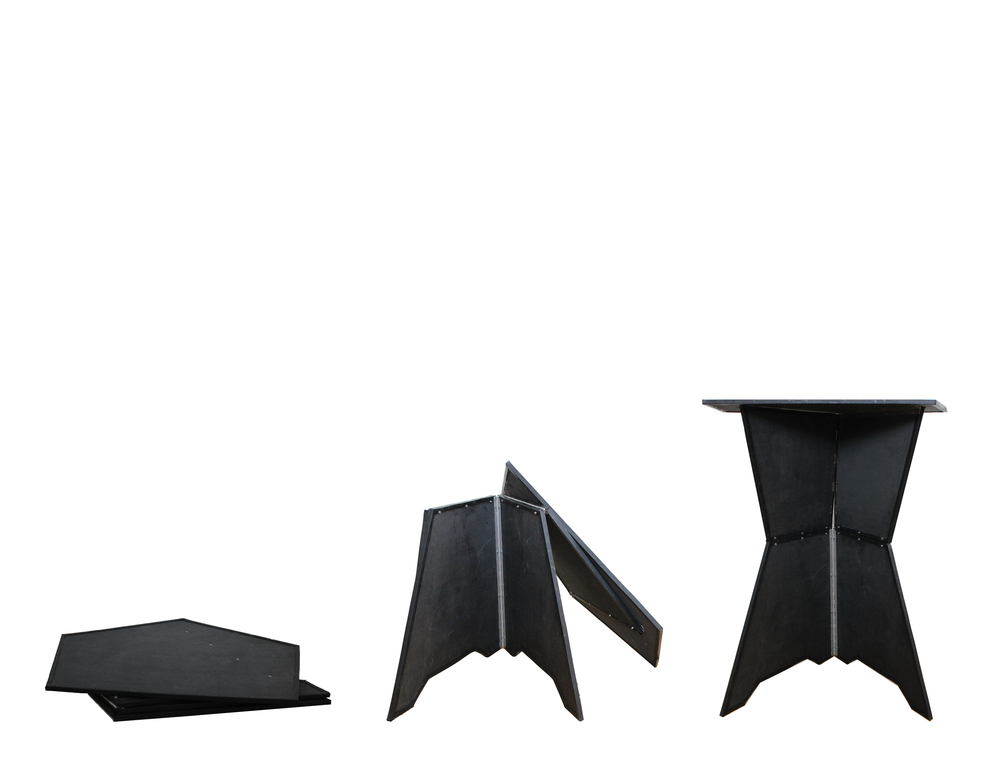 Amanda's collapsible, lightweight carbon fiber podium: provisional interior architecture for short stature.
