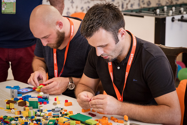 SmashingConf attendees building with Lego