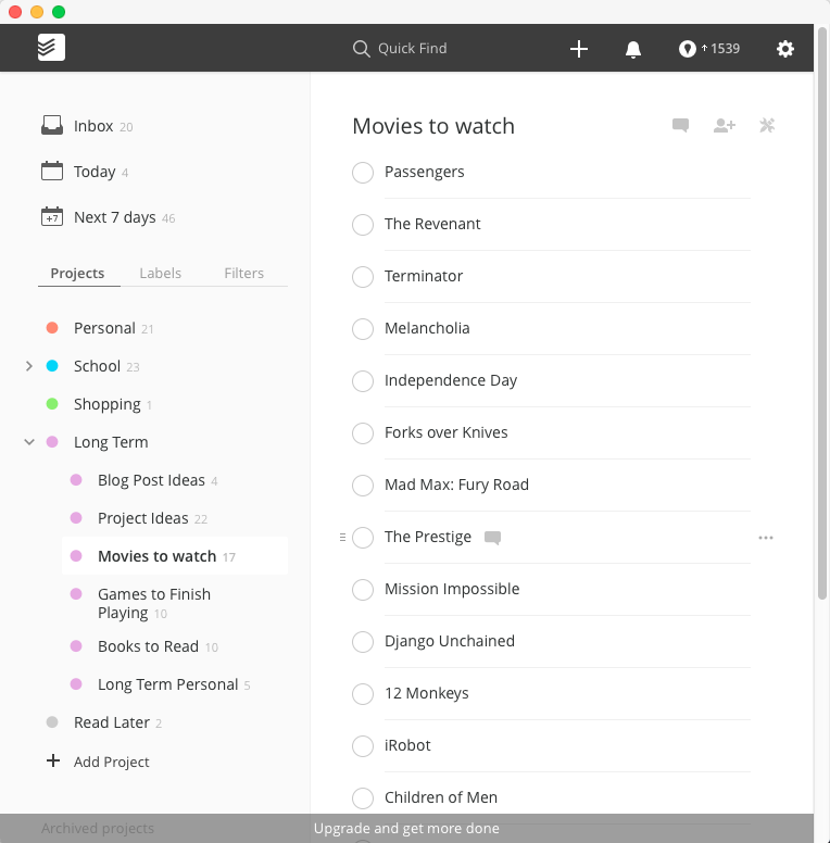 Todoist Interface