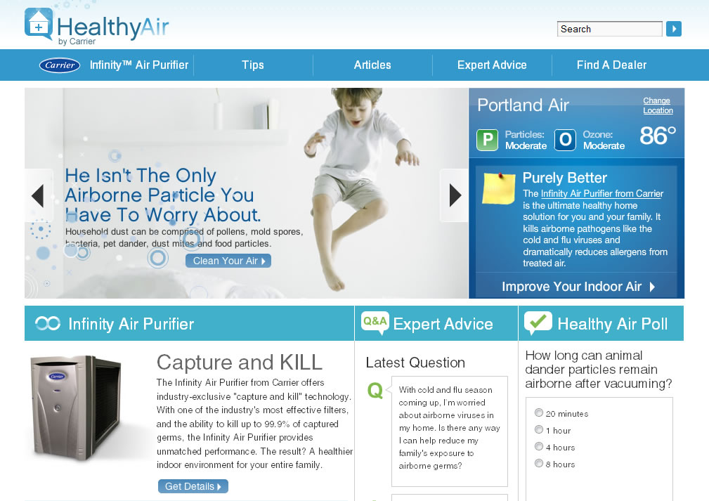 Carrier Healthy Air home page