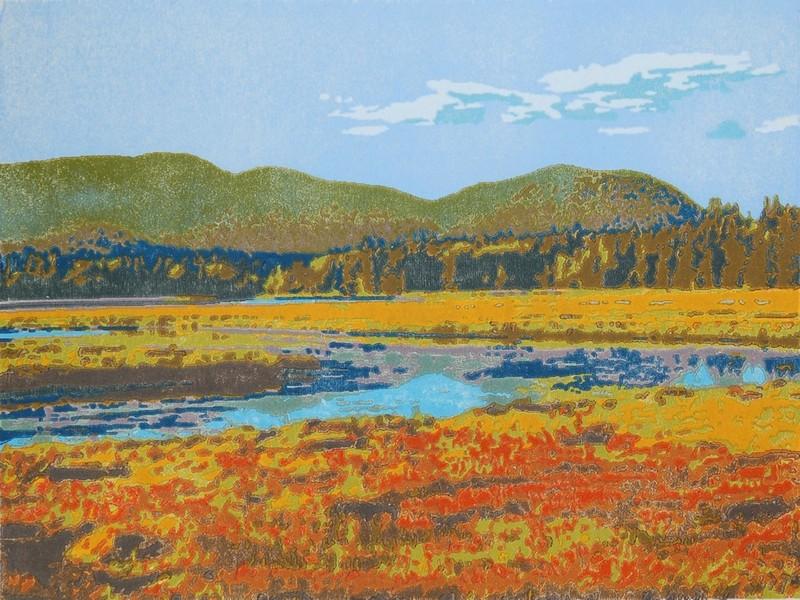 Western Mt. fall woodblock print
