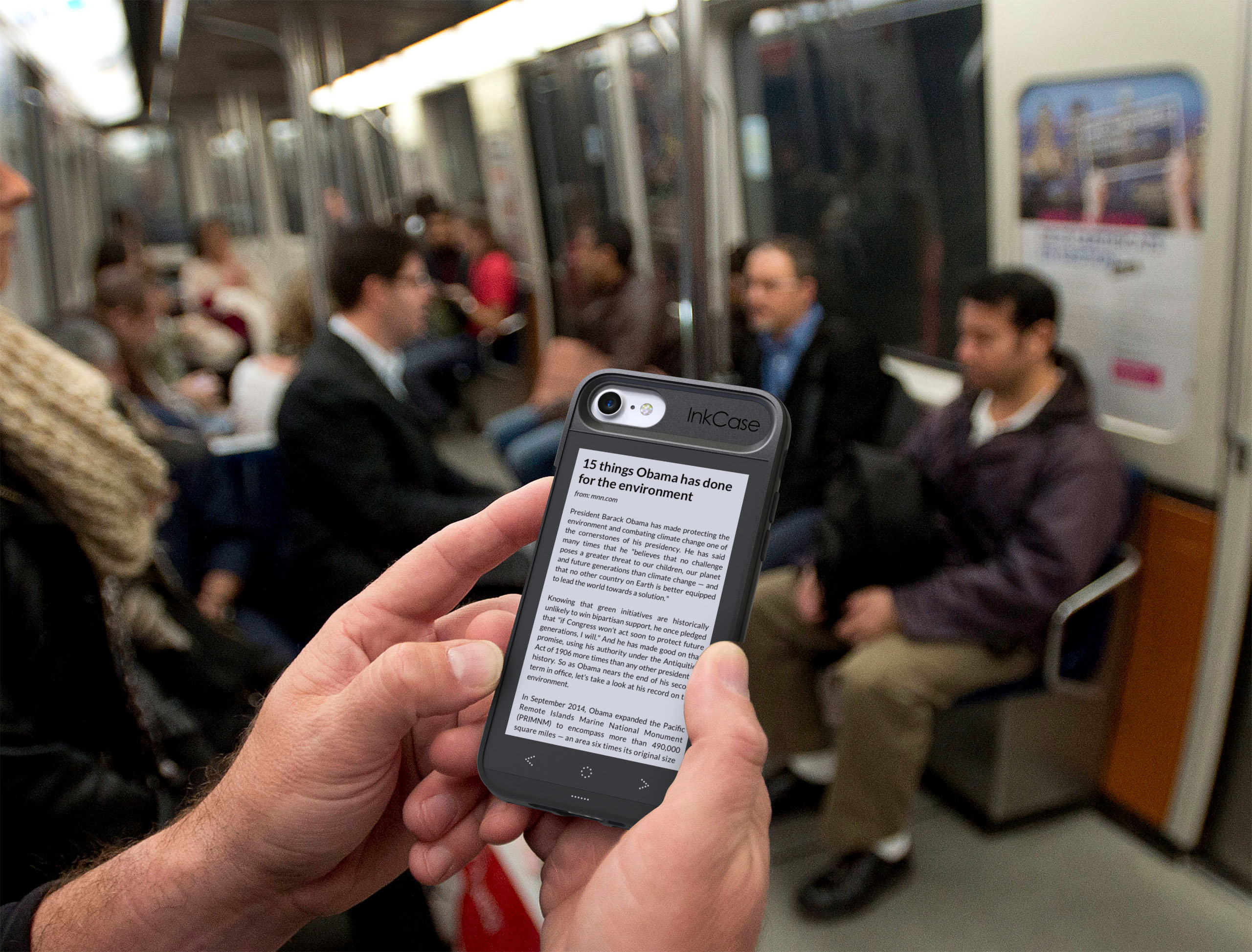 Inkcase makes for easy reading on public transport as it is the world's thinnest and lightest e-reader