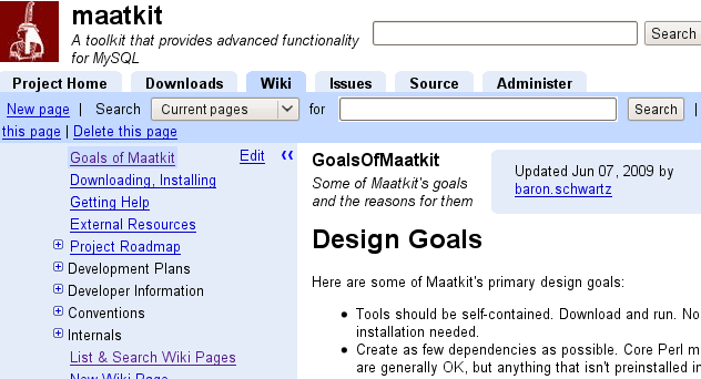 Wiki with sidebar and default page