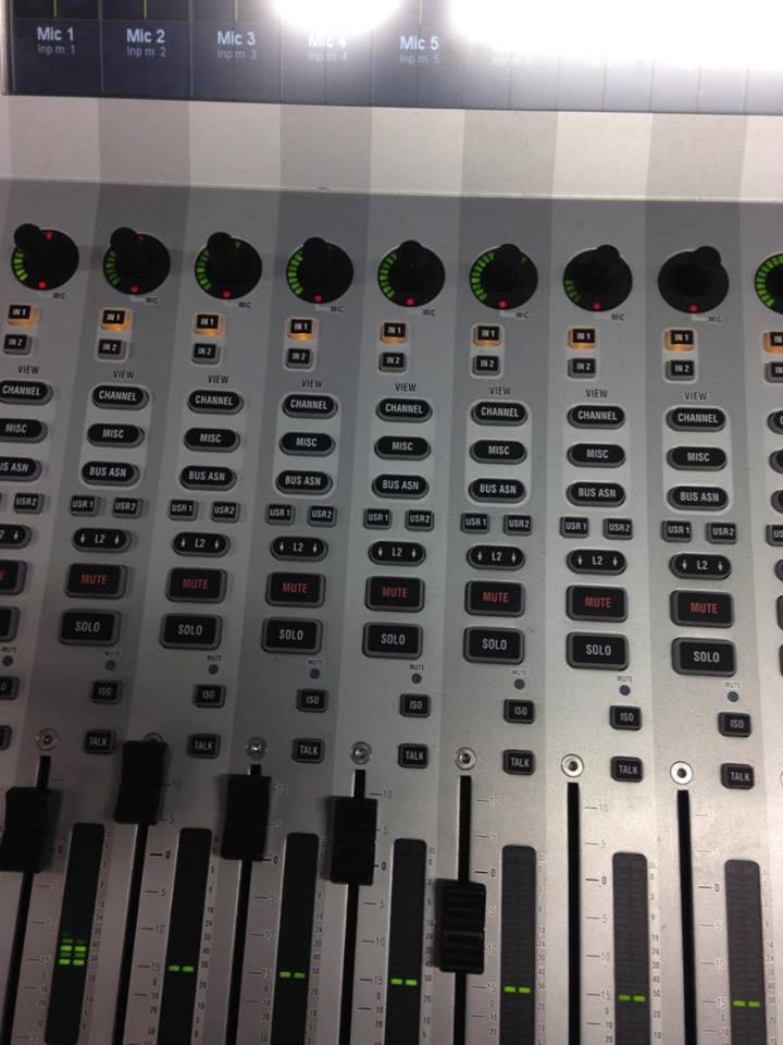 close up of sound desk
