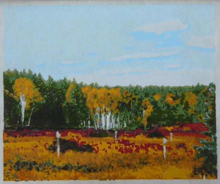 September Cadence woodblock print