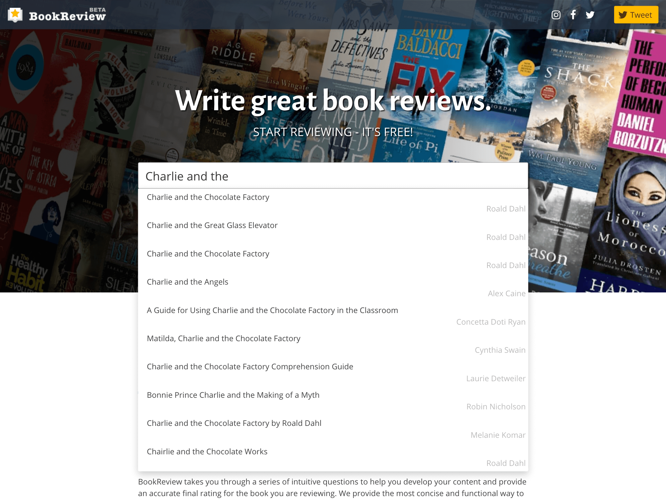 BookReview home page