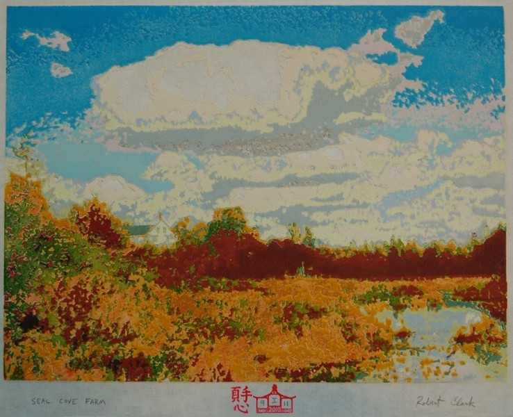 Seal Cove Farm woodblock print