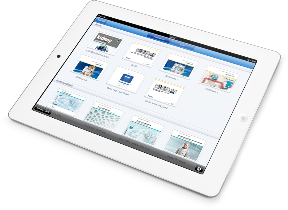 The iPad app works offline and allows reps to present up to date sales materials.