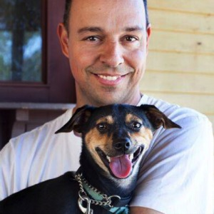 Eldad Hagar and one of the Hope for Paws rescue dogs