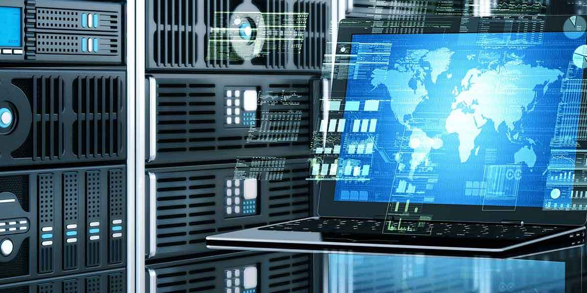 Data computer servers and a futuristic three dimentional screen.