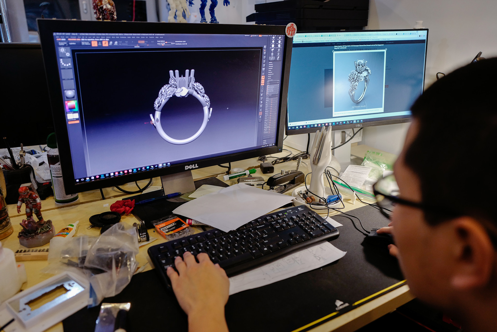 Person designing a ring