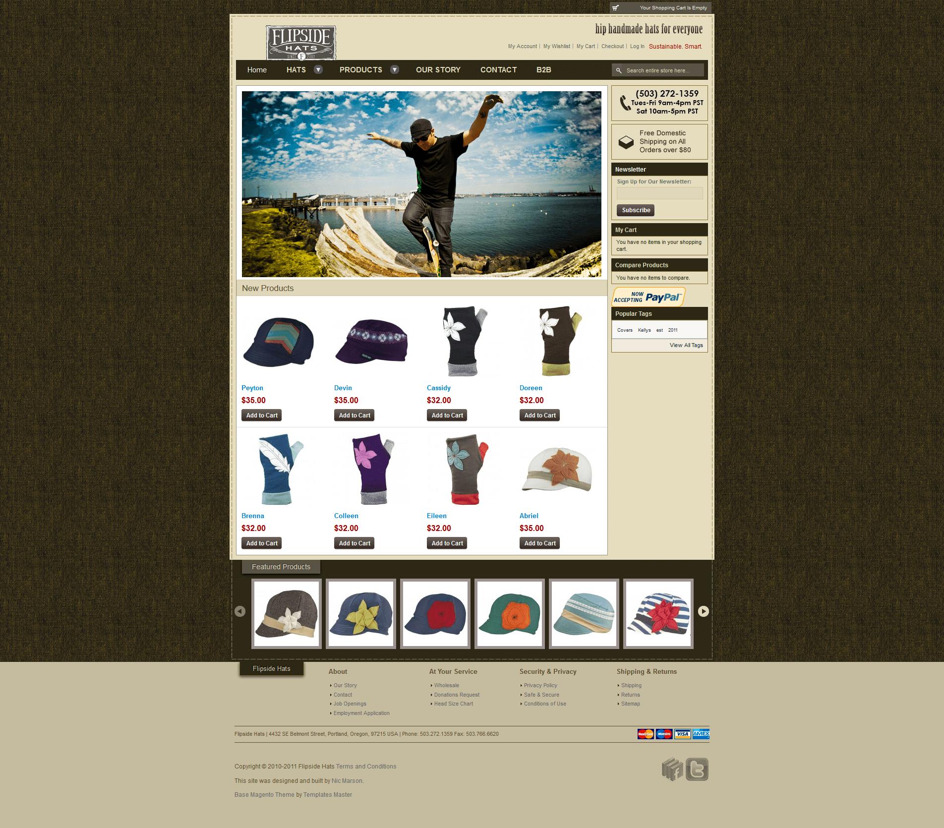 Flipside Hats v1 home page