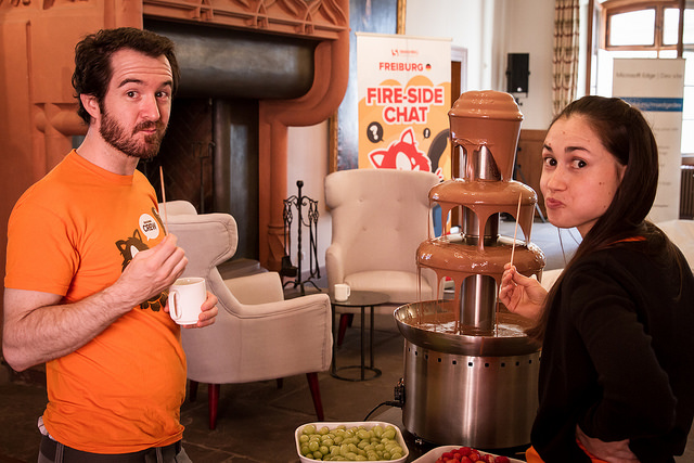 SmashingConf attendees with the chocolate fountain