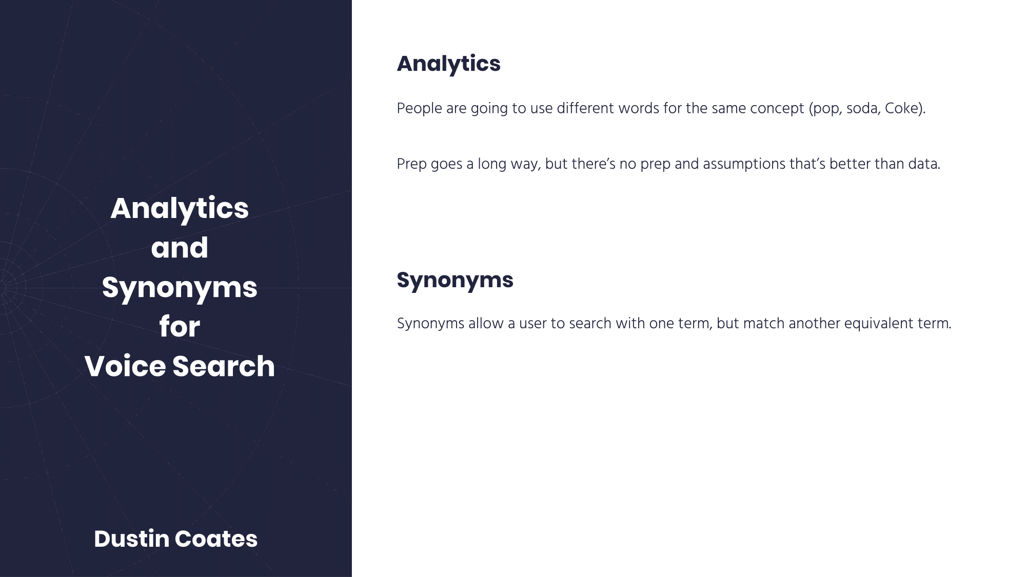 Analytics and synonyms
