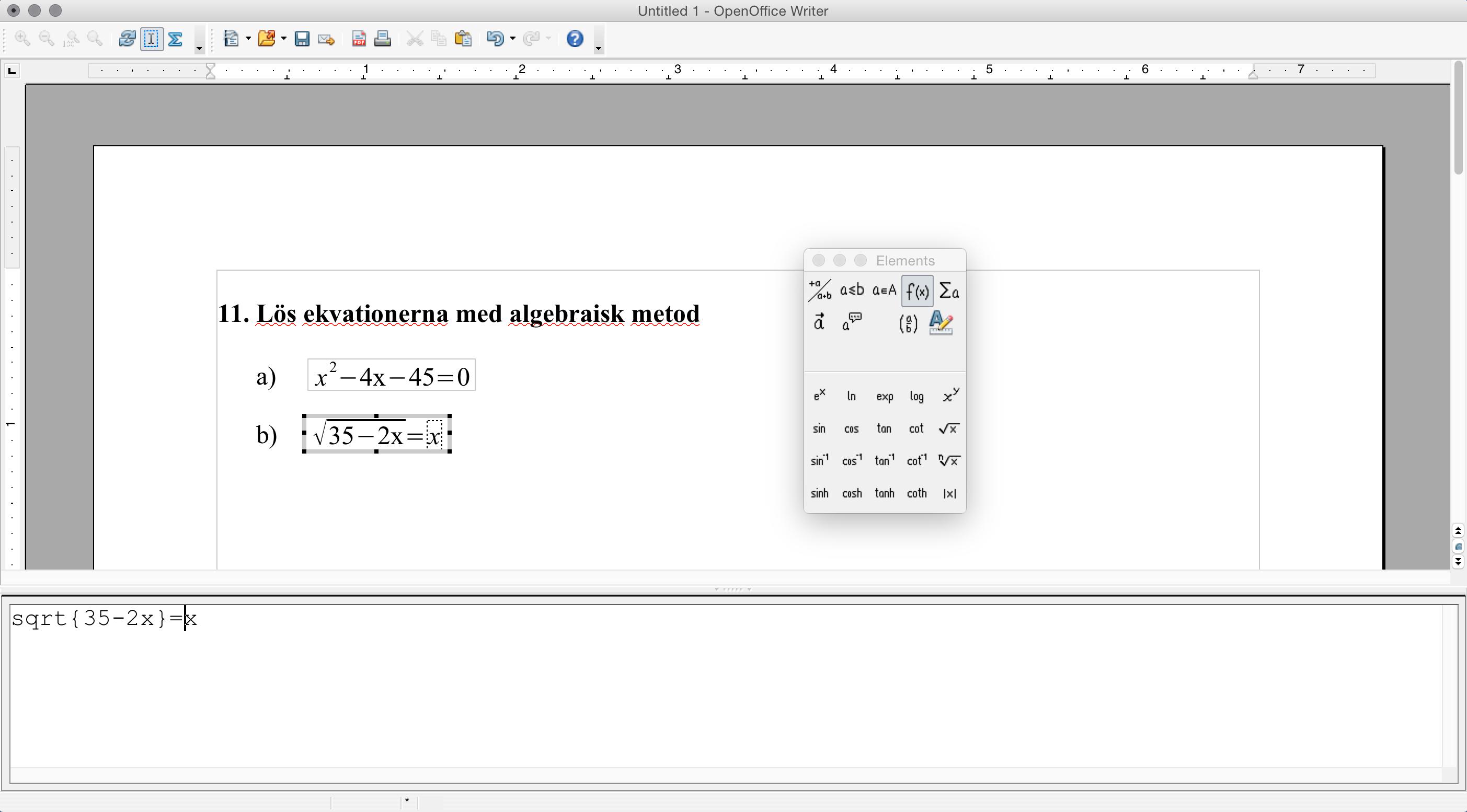 Ekvation i OpenOffice