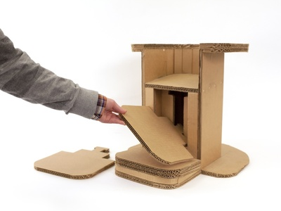 triple wall cardboard can be used for adaptive, low-cost furniture customized for and built by nearly any body