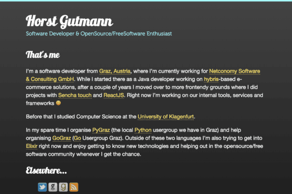 Personal profile page of Horst Gutmann