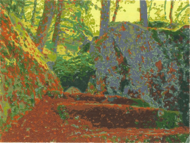 Valley Trail woodblock print