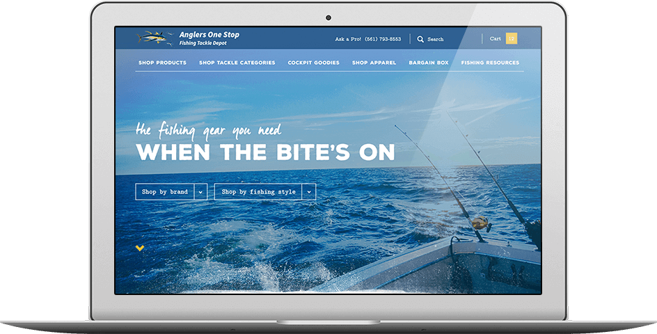 Ecommerce website, Anglers Laptop