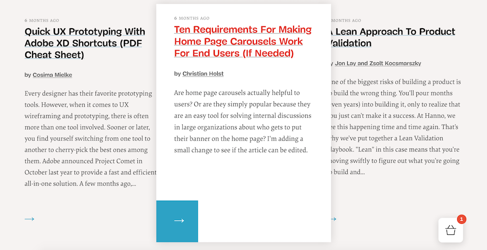 Screenshot of the hover effect of the articles in the homepage grid
