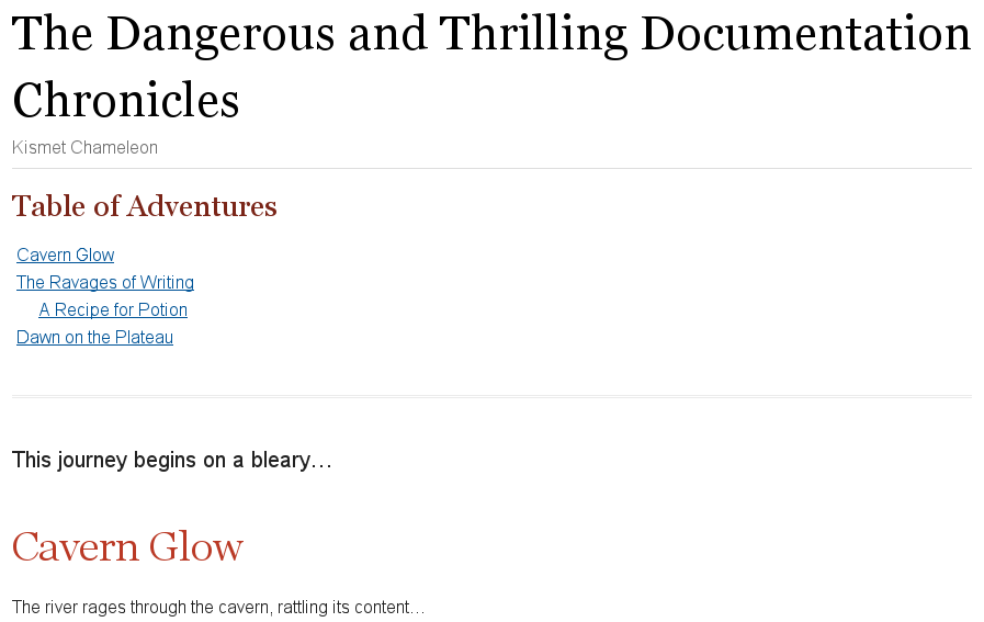 Table of contents title