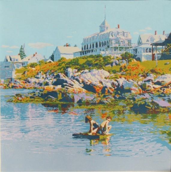 woodblock print The Liferaft Monhegan Maine art