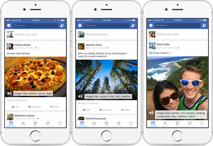three iphones showing off Facebook's Automatic Alternative Text