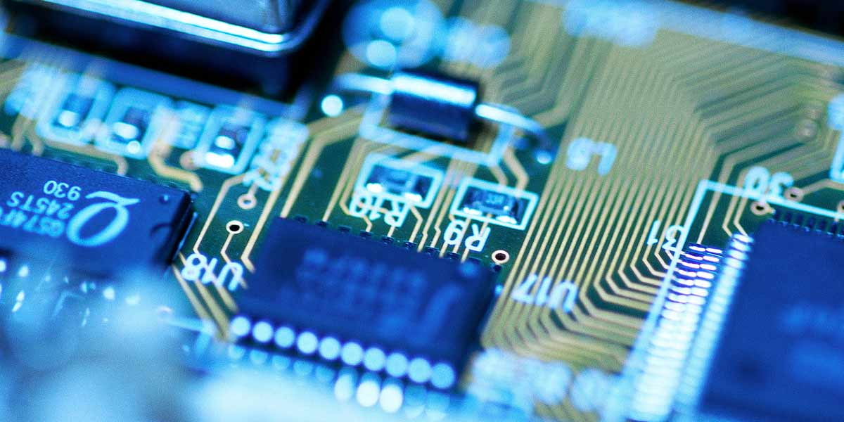 A closeup look at a microchip.