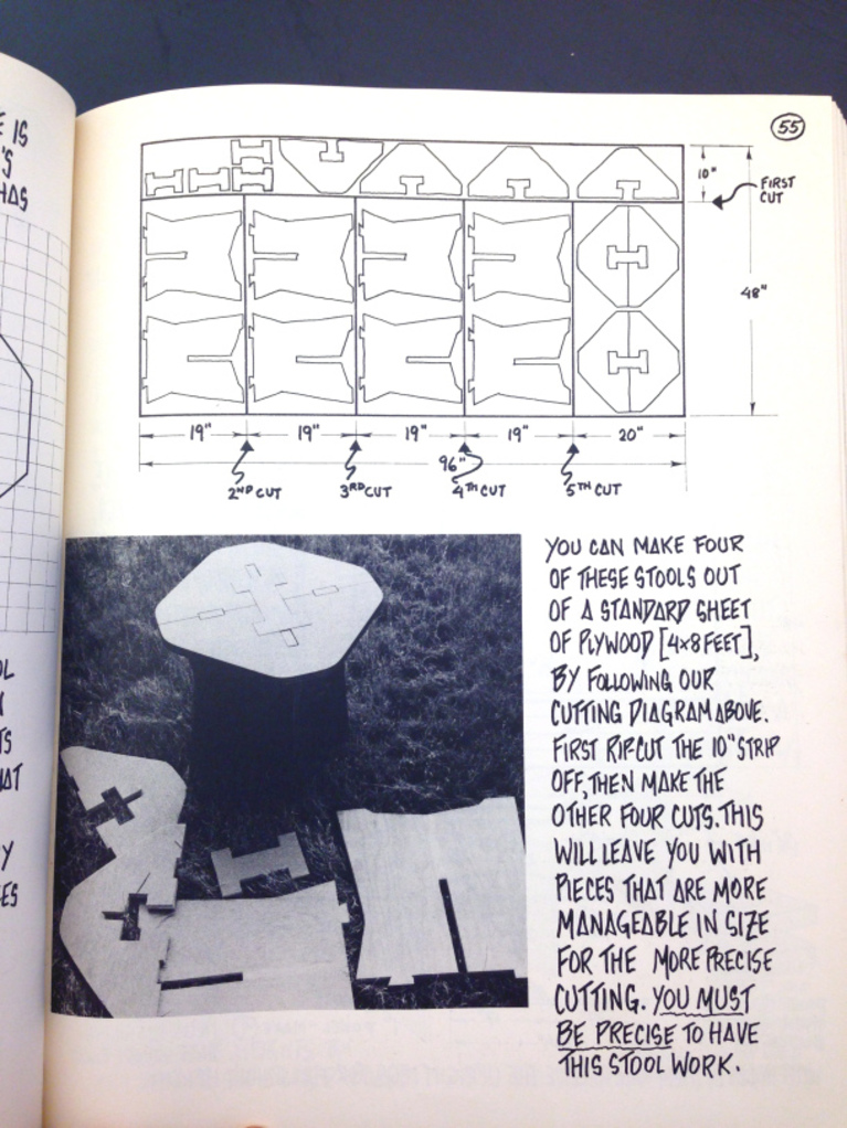 An image from Papanek's Nomadic Furniture book shows how to get four stools cut from a single piece of plywood.