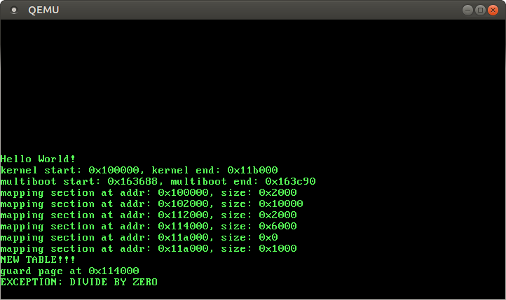QEMU screenshot with `EXCEPTION: DIVIDE BY ZERO` message