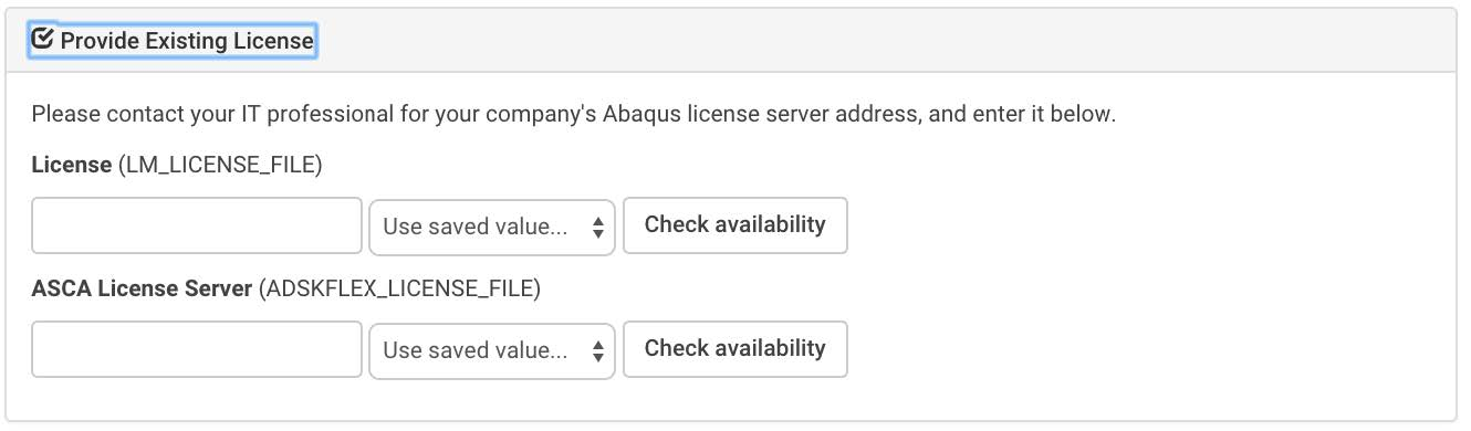 Provide Existing License
